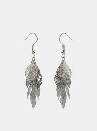 Cercei lungi argintii in forma de frunze Pieces Kit