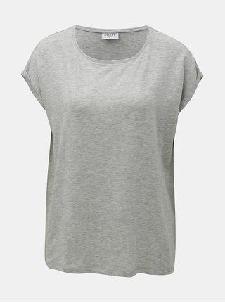 Šedé volné žíhané basic tričko s krátkým rukávem VERO MODA AWARE Ava