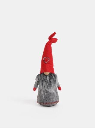 Červeno–sivý fleecový škriatok Dakls