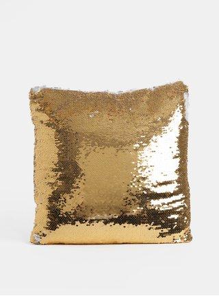 Polštář v bílo-zlaté barvě s magickými flitry Dakls
