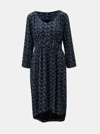 Modro-černé vzorované šaty s prodlouženou zadní částí Tranquillo Aradia