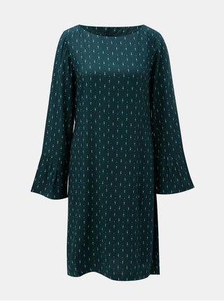 Tmavě zelené vzorované šaty s mašlí a zvonovým rukávem Tranquillo Terra