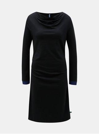 Černé šaty s řasením ve výstřihu a na bocích Tranquillo Durga