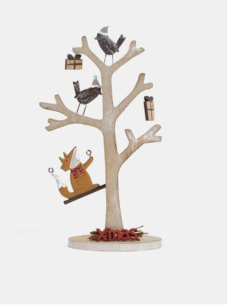 Hnedá drevená dekorácia v tvare stromu Dakls