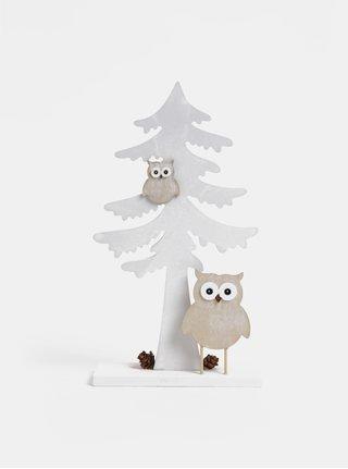 Biela drevená dekorácia v tvare stromu Dakls