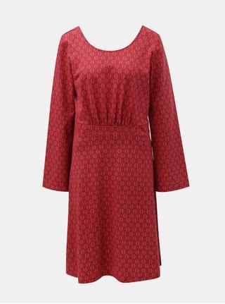 Červené šaty s motivem listů a výstřihem na zádech Tranquillo Klio