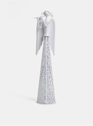 Biely kovový veľký anjel Dakls