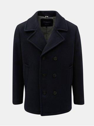 Tmavomodrý kabát s prímesou vlny Jack & Jones Hector