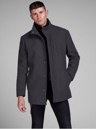 Tmavosivý zimný kabát s prímesou vlny Jack & Jones Duane