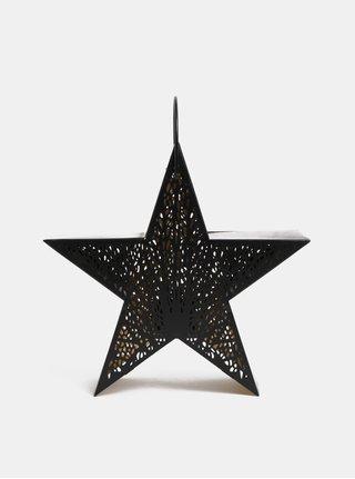 Čierny kovový lampáš v tvare hviezdy Dakls