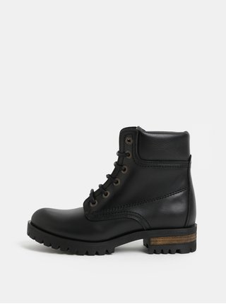 Černé kožené kotníkové boty s efektem lesklé kůže OJJU