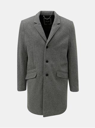 Sivý melírovaný vlnený kabát ONLY & SONS Julian