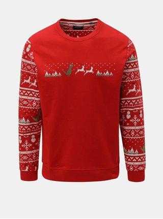 Červená lehká mikina s vánočním motivem ONLY & SONS Rexmas