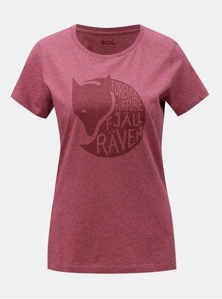 Vínové dámske melírované tričko s potlačou Fjällräven Forever