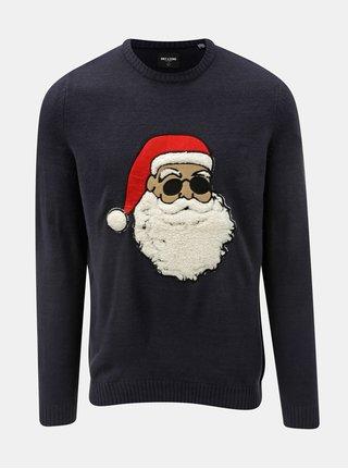 Tmavě modrý svetr s vánočním motivem ONLY & SONS Xmas 7 Funny