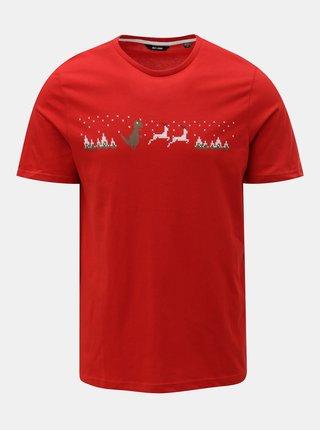 Červené tričko s vánočním motivem ONLY & SONS Rexi