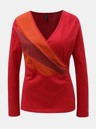 Červené tričko s překládaným výstřihem Tranquillo Marei