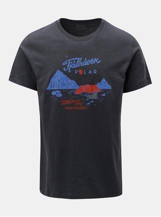 Tmavě šedé tričko s potiskem Fjällräven Polar