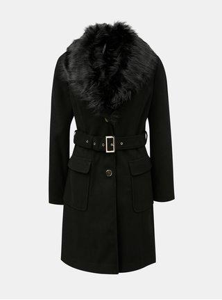 Čierny menčestrový kabát s odnímateľnou umelou kožušinkou Dorothy Perkins