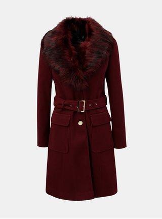 Vínový menčestrový kabát s odnímateľnou umelou kožušinkou Dorothy Perkins