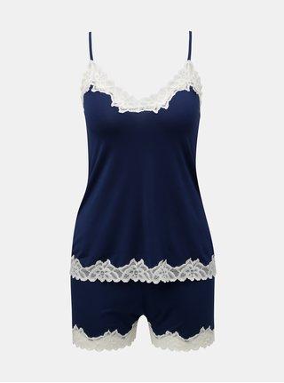 Tmavě modré dvojdílné krajkové pyžamo Eldar Aria