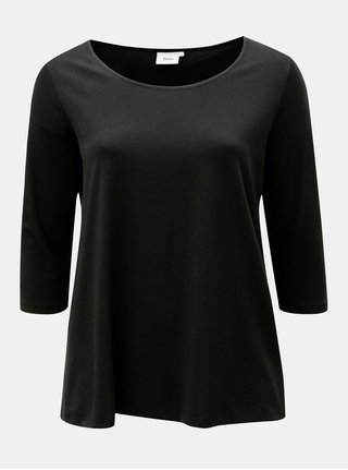 Černé basic tričko s dlouhým rukávem Zizzi