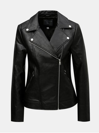 Jacheta biker neagra din piele sintetica Dorothy Perkins Tall
