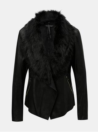 Čierna koženková bunda s odnímateľnou umelou kožušinkou Dorothy Perkins