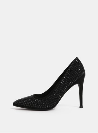 Pantofi negri cu toc inalt si pietre decorative Dorothy Perkins