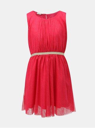 Tmavě růžové holčičí šaty s detaily ve zlaté barvě Name it Boss