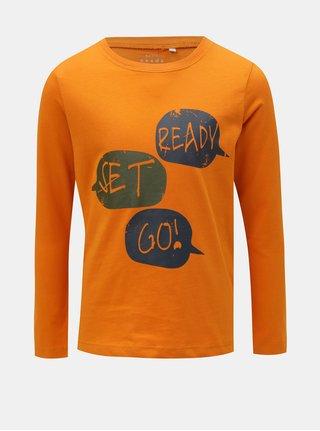 Oranžové klučičí tričko s potiskem Name it Victor