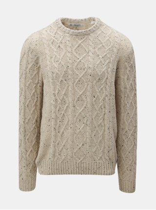 Béžový melírovaný vlnený sveter Original Penguin