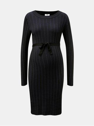 Modro–čierne pruhované tehotenské svetrové šaty Mama.licious Bea