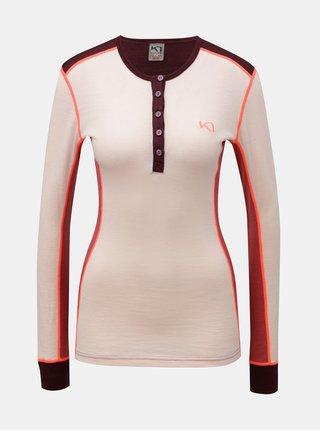 Vínovo-růžové funkční tričko s dlouhým rukávem z Merino vlny Kari Traa Flette