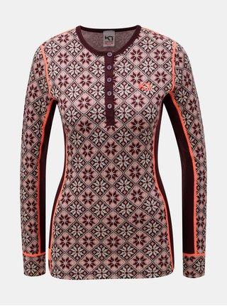 Růžovo-vínové vzorované funkční tričko z Merino vlny Kari Traa Rose