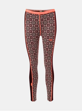 Leggings functionali roz-bordo din lana merino cu model Kari Traa Rose