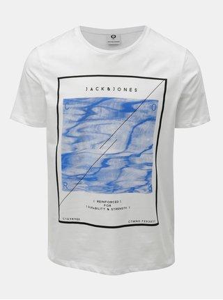 Bílé tričko s krátkým rukávem Jack & Jones Omake