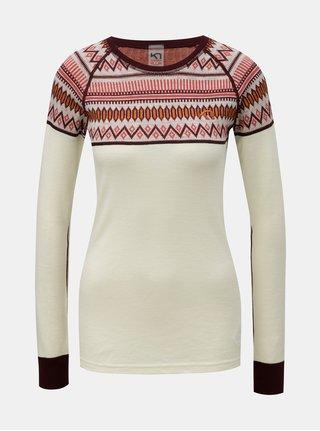 Vínovo-krémové vzorované funkční tričko z Merino vlny Kari Traa Løkke
