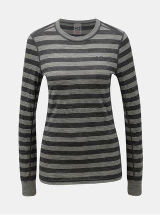 Šedé pruhované funkční tričko z Merino vlny Kari Traa Ulla