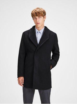 Čierny vlnený kabát Jack & Jones Newgotham
