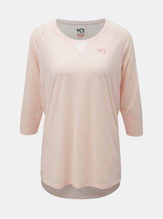 Světle růžové funkční tričko s 3/4 rukávem Kari Traa Julie