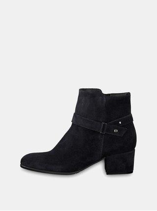 Tmavě modré semišové kotníkové boty na podpatku Tamaris