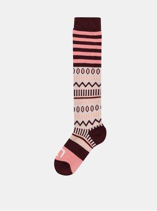 Sosete sub genunchi bordo-roz din lana cu model Kari Traa Åkle Sock