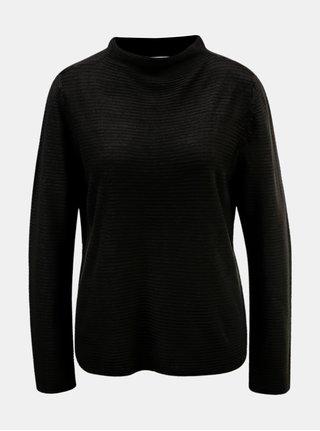 Čierny rebrovaný sveter so stojačikom Jacqueline de Yong