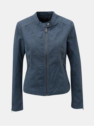 Modrá koženková bunda s detailmi v striebornej farbe ONLY Saga