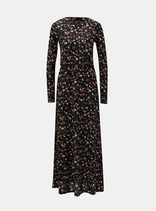 Černé květované maxišaty s gumou v pase Jacqueline de Yong