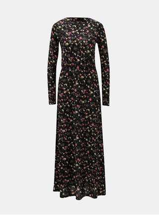 Rochie maxi neagra florala cu banda elastica in talie Jacqueline de Yong