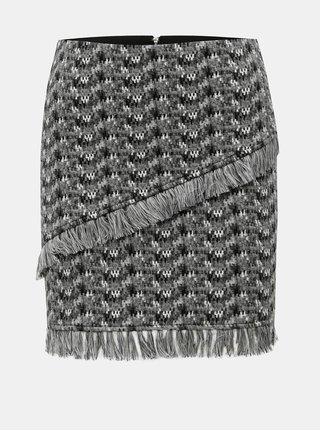 Sivá vzorovaná sukňa so strapcami Noisy May Kara