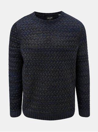 Tmavě modrý žíhaný svetr ONLY & SONS Odin