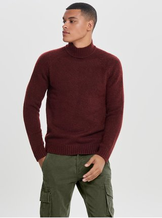 Pulover bordo melanj cu guler inalt ONLY & SONS Patrick